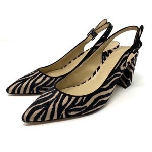 Ann Taylor Brielle Zebra Print Sling Back Heels 8